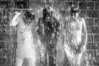 Children in Downpour, Millennium Park  - Chicago, USA