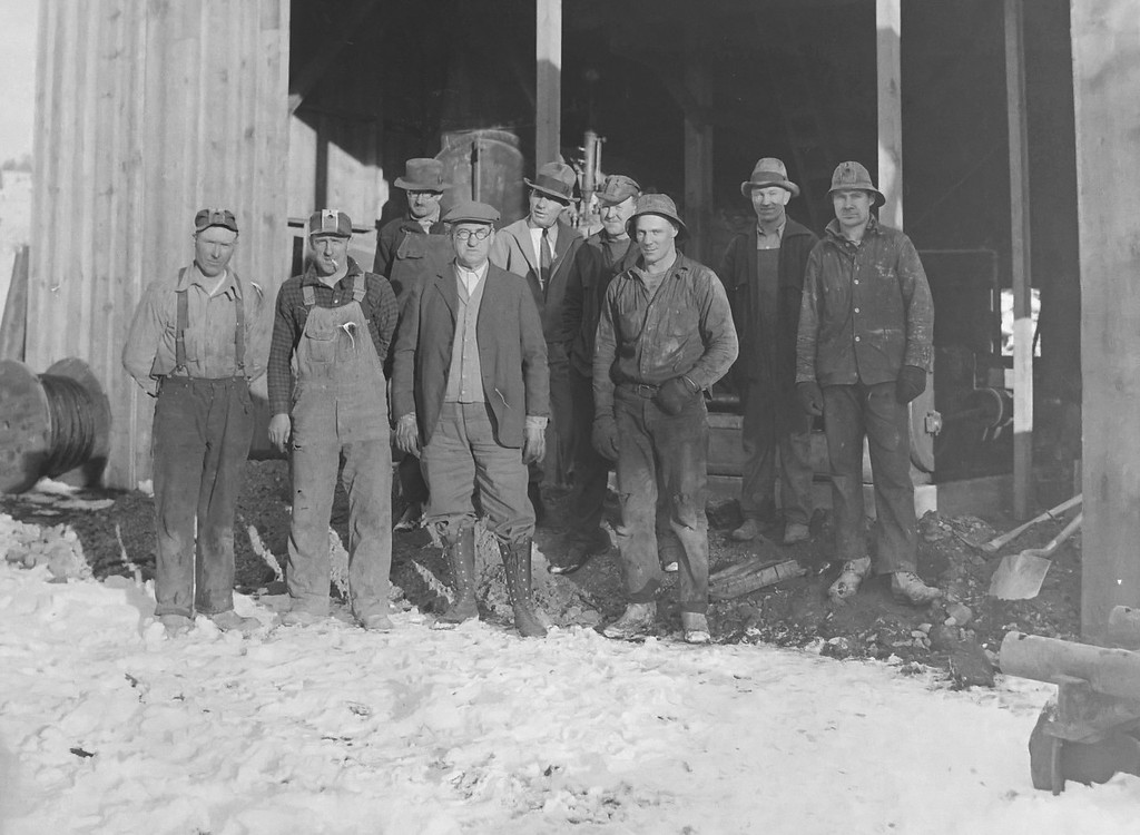 Work crew. 1920s or 30s. Possibly a mine. Looks dirty, and cold.