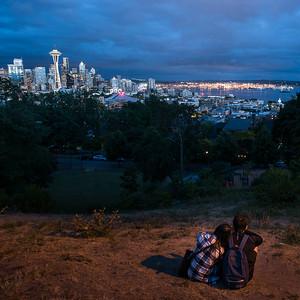 Couple Admiring the Seattle Skyline
