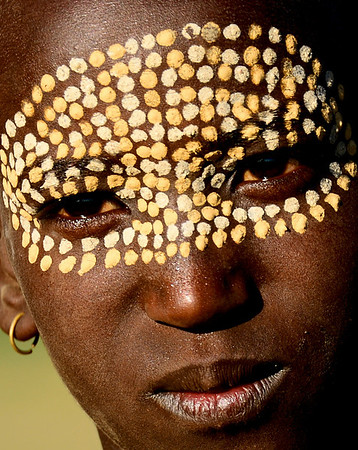 Aerbore boy with guinea fowl face design, Omo Valley, Ethiopia
