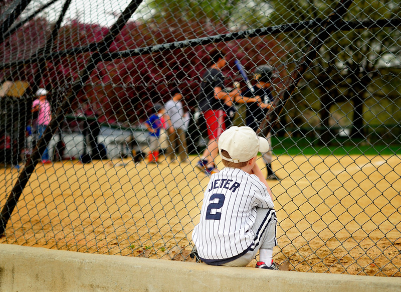 Little leaguer in Jeter baseball jersey, New York City
