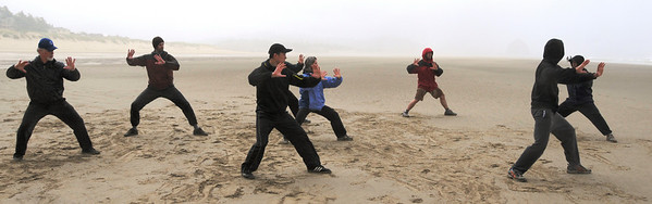 Tai Chi Canon Beach Oregon in Fog and Rain