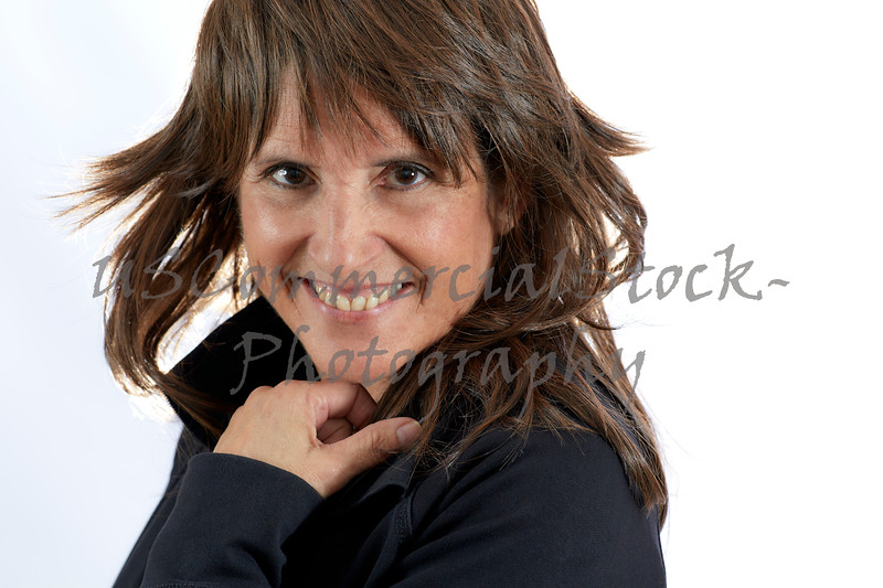 Middle Aged Woman with Brown Hair Smiling