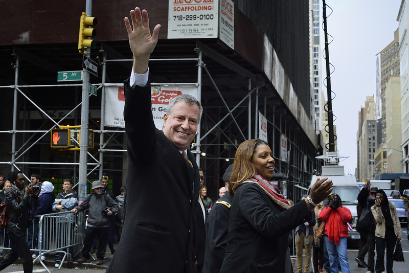 New York City Mayor Bill de Blasio Marching in the Veteran's Day Parade