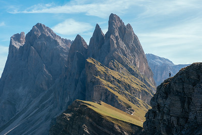 Man on the edge of Seceda - Dolomites