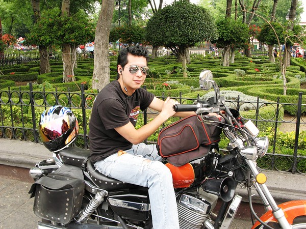 """While walking in a park in Mexico City, I asked this young <br /> """"biker"""" to pose for me."""