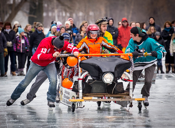 Bed Race at Cedarburg Winter Festival - Wisconsin, USA