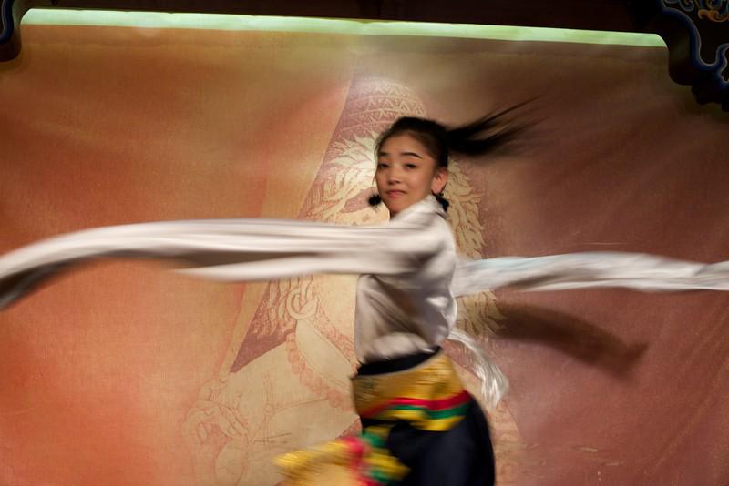 Dancer at Makye Ame Tibetan Restaurant in Beijing, China
