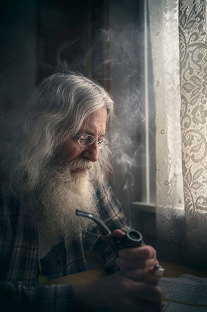Lone man with pipe