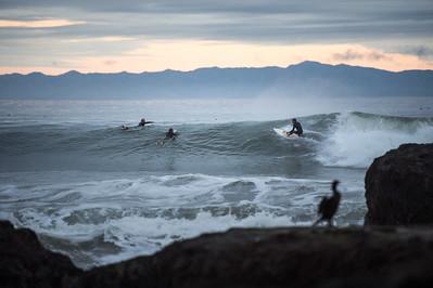 Surfers at Devereux Point
