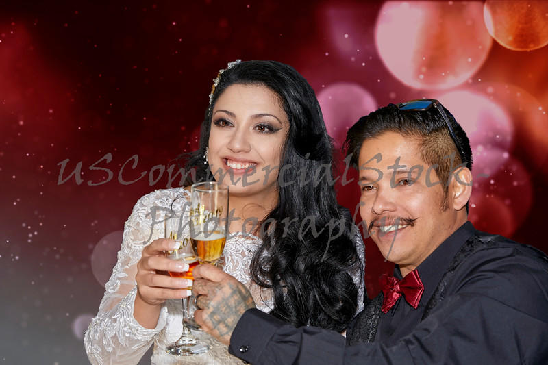 Newlywed couple offering a toast