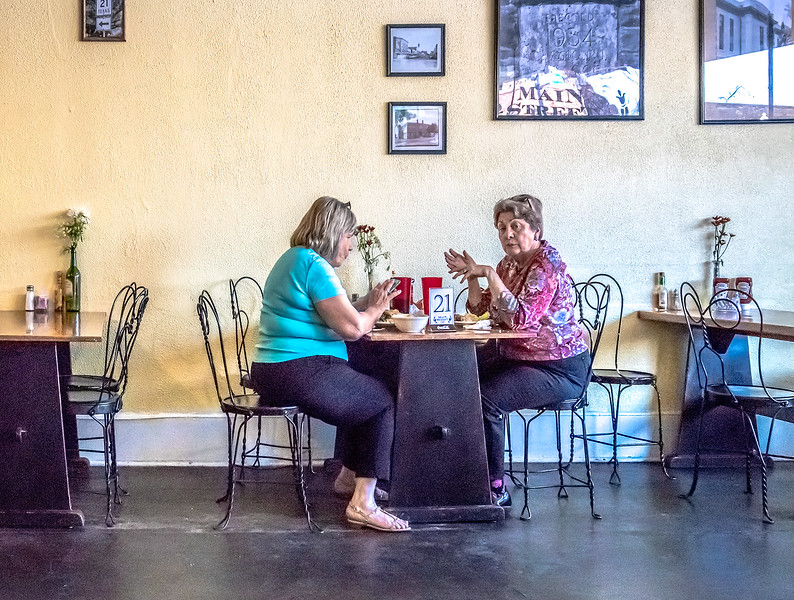 Two ladies eating at the Main Street Cafe, Bastrop TX.