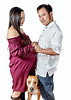 Pregnant Woman with a Man and a Dog