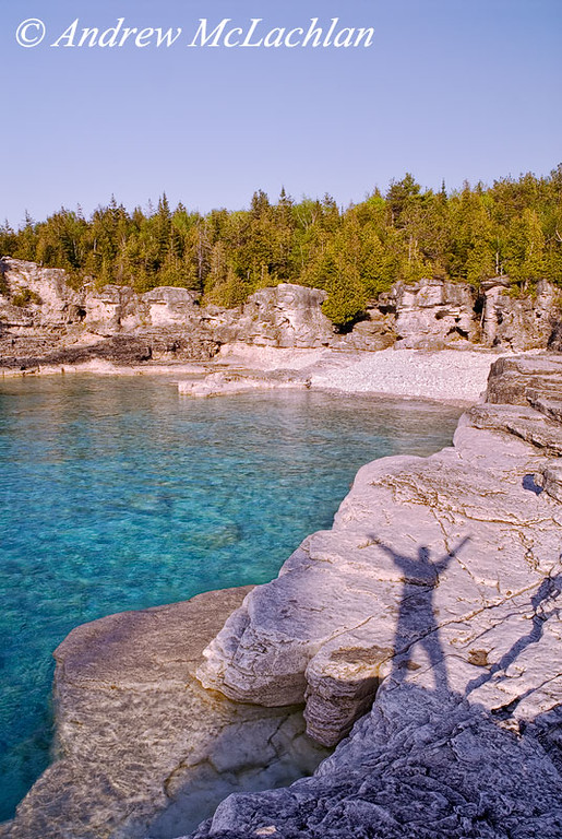 Shadow of Man at Indian Head Cove on Georgian Bay in Bruce Peninsula National Park, Ontario, Canada