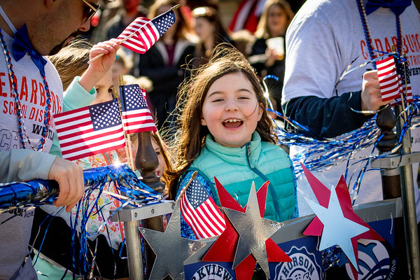 Girl With Flags At Cedarburg  Winter Festival - Wisconsin, USA