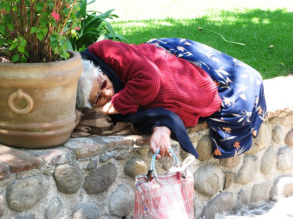 This woman was taking a nap in the sun at the Church of San Angel, in Mexico City.