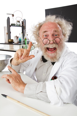 Eccentric scientist in lab excited about ideas