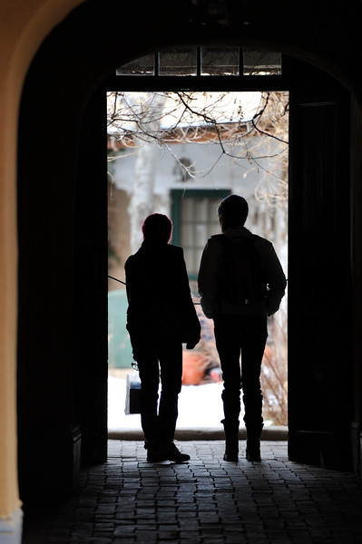 Silhouette of couple in Santa Fe, New Mexico