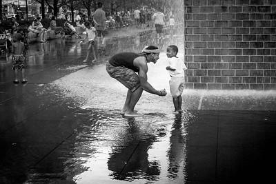 Man with Child in Millennium Park - Chicago, USA