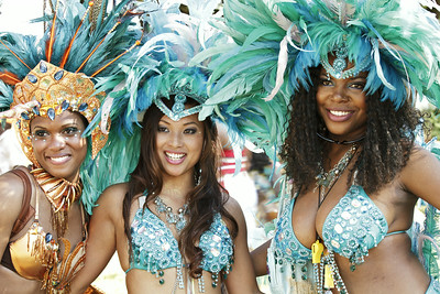 Beautiful women in sparkling Caribana parade costume