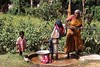 A grandmother is pumping water to wash clothes, and carry back to her home in the pot, from a well in a village near Kanchipuram.  Her grandson stands nearby.  These wells are one of the only sources of potable water, and since there is very little electricity, and it is expensive, the water is pumped by hand.  We were volunteering for RIDE, an NGO working to eradicate child labor in the silk sari weaving industry.