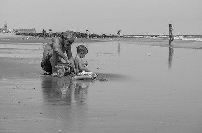 A Father and Son Making Memories at Low Tide