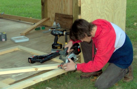 Functioning as a carpenter here while building a Garden Shed.