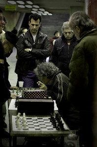 Chess at Nyugati Tube Station, Budapest