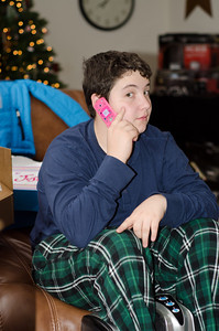 Zane enjoying Boston's new cell phone.