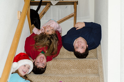 Kids happy and excited to go downstairs on Christmas morning.