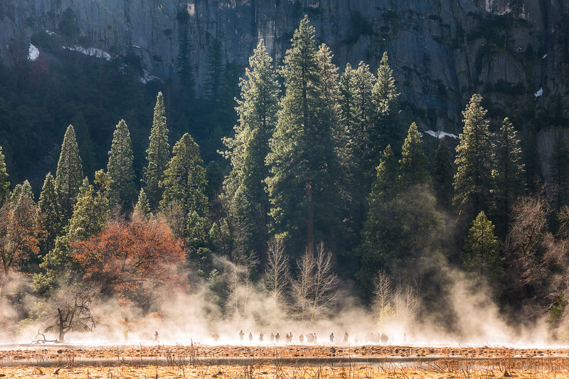 People engulfed in mist, Yosemite National Park