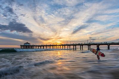 Surfer, Manhattan Beach sunset