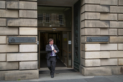 Richard Godden heads out after the morning session - but there was no sign of Andy Coulson today at all