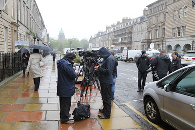 TV and press wait patiently in the drizzle outside the Nursing and Medical Council as the Pauline Cafferkey Inquiry proceeds