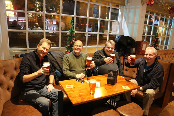 Pre Christmas social at The Foresters, Aberdour - which claimed to serve food - or not...  Bob, Bill, Robert and Robin.  No seminar shot as the loco is off the end of the platform.