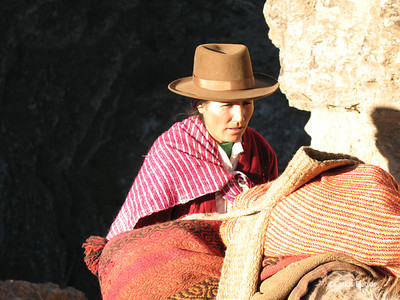 Woman and burro on the steep trail climbing from Chavin de Huantar towards Shongopampa