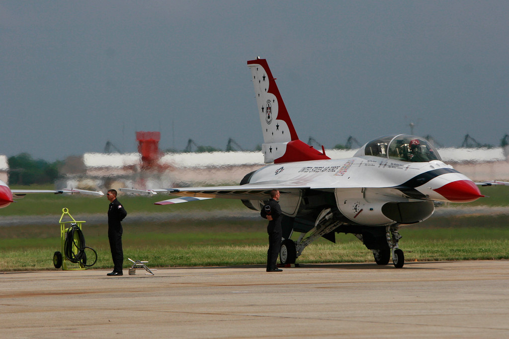 The Thunderbirds (here, one of the six F-16s is getting ready to depart) were a treat, every part of their performance, including little things like removing the chocks, was perfectly synchronized.