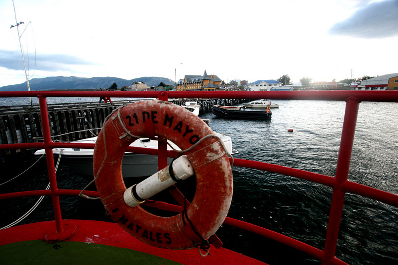 "Aboard the ""21st of May"" in Puerto Natales. The ship was named after a key 1879 naval battle between Chile and Peru."