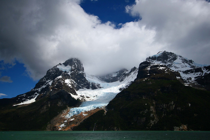 This is the Balmaceda glacier -- in the last 10 years it has retreated from sea level to 1/3 of the way up the mountain.