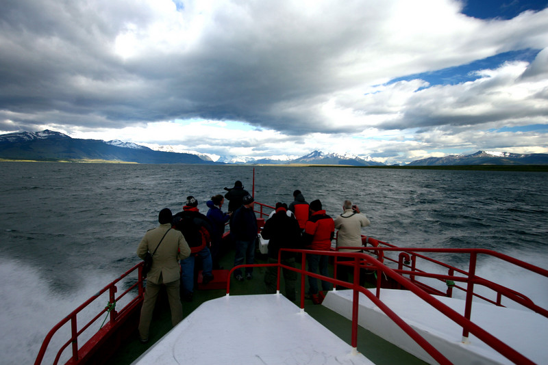 I joined an 8-hour trip into Bernardo O' HIggins national park to see glaciers and the mountainside .. and we're off ...