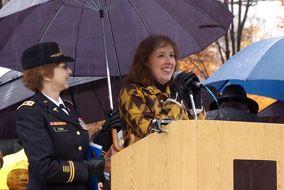 Vietnam Women's Memorial Fund president Diane Carlson Evans introduces Lt. Col. Sharon Stanley-Alden