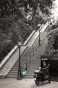 We came across these stairs while walking around Montmartre in 2003. Took a few shots then sat at the cafe across the street for a while. I later saw these stairs in an antique French postcard. Nothing has changed.