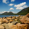 """Jordan Pond--Taken on a rare moment of beautiful sun in a week filled with fog, June 2008, Seal Harbor, ME, Acadia National Park. View of """"the Bubbles"""" mountains in the background."""