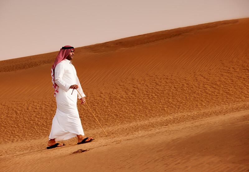 Kuwait Desert - Man Walking in the Desert