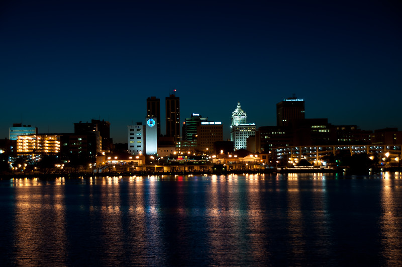 Peoria IL Skyline at Night