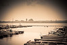 View of Peoria, IL  from East Port Marina on a hot hazy day