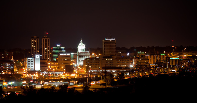 Peoria, IL Skyline at Night #DSC_0014