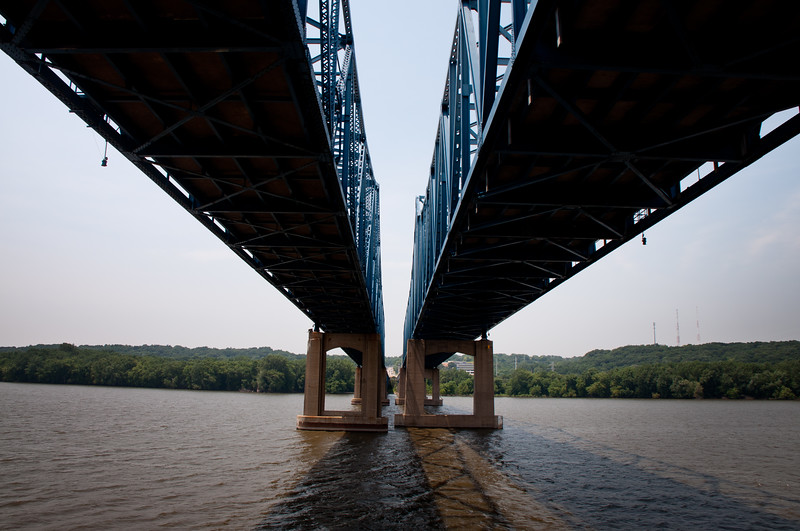 Under the McClugage Bridge Peoria, IL Looking West