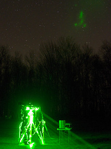 A little light painting with a green laser on Dave's Vixen. Or was it the aliens?