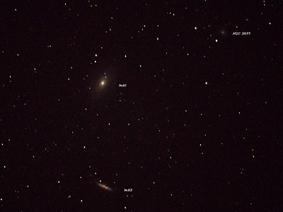 M82, M81 and NGC 3077 Galaxies. M81 has a magnitude of 6.90 so i think the setup is working pretty well. This is a single image exposure.